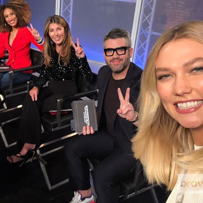 (From left to right) Elaine Welteroth, Nina Garcia, Brandon, and Karlie Kloss seen on the set of Project Runway in March 2019