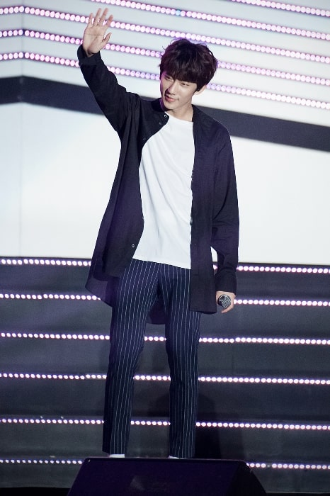 Gongchan as seen while waving at WFMF concert on September 11, 2016