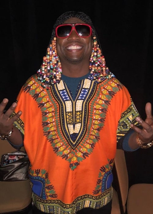Guy Torry as seen in a picture dressed as the legendary Stevie Wonder on Halloween at the Tom Joyner Family Reunion At Gaylord Palms in November 2019