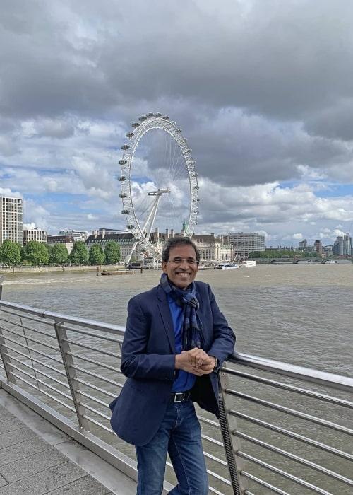 Harsha Bhogle as seen in a picture taken in London in front of the London Eye in June 2019