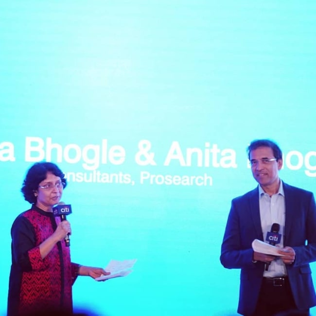 Harsha Bhogle as seen in a picture with his wife Anita Bhogle during a corporate speech session in September 2019