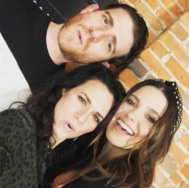 Hilarie seen with her One Tree Hill co-stars Bryan Greenberg and Sophia Bush in February 2019