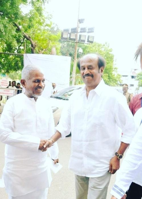 Ilaiyaraaja seen along with actor Rajnikanth in 2018
