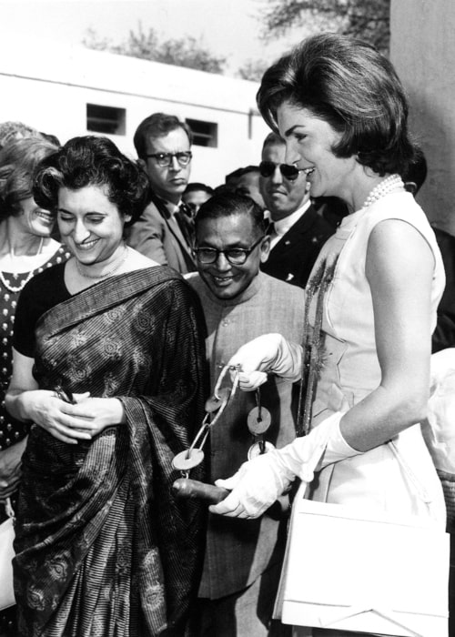 Indira Gandhi in a picture with Former First Lady Of The United States Jacqueline Kennedy in New Delhi, India, in March 1962