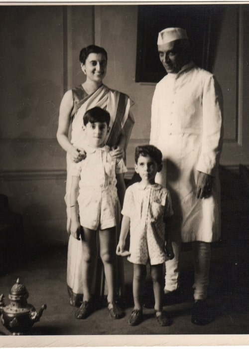 Indira Gandhi with her father Jawaharlal Nehru and her son's Rajiv (Left) and Sanjay Gandhi (Right) in a picture that was clicked on January 13, 1949