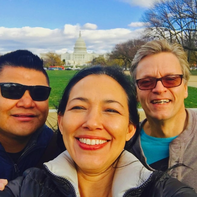 Irene Bedard as seen while taking a selfie with her friends in Washington D.C., United States in November 2016