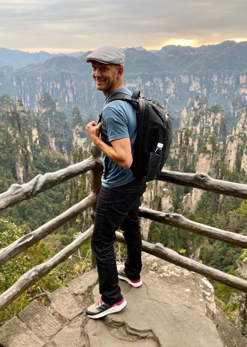 Jase Bennett as seen while posing for a picture with a stunning backdrop in Zhangjiajie, China in November 2019