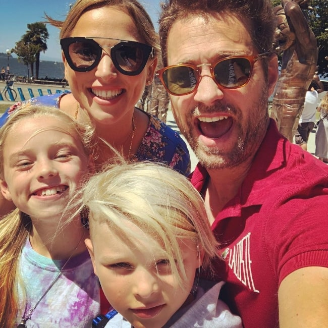 Jason Priestley as seen while taking a selfie along with his family in Vancouver, British Columbia, Canada in July 2018