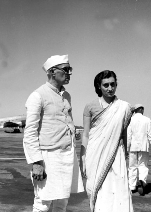 Jawaharlal Nehru and Indira Gandhi in a picture taken at the Palam Aerodrome on October 3, 1949