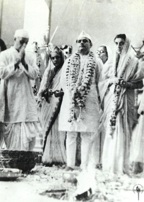 Jawaharlal Nehru in a picture taken with Indira Gandhi, and his father-in-law at the time of marriage on March 26, 1942