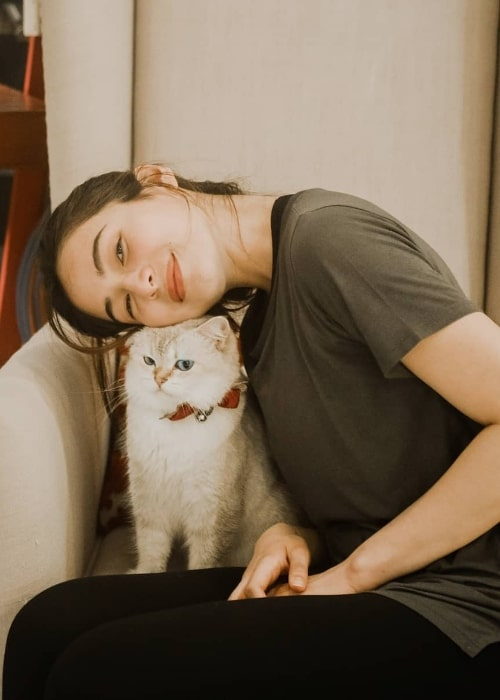 Jennylyn Mercado as seen while posing for an adorable picture along with her cat in September 2019