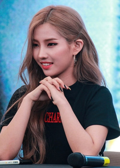 Jeon So-yeon as seen while smiling in a picture in June 2018
