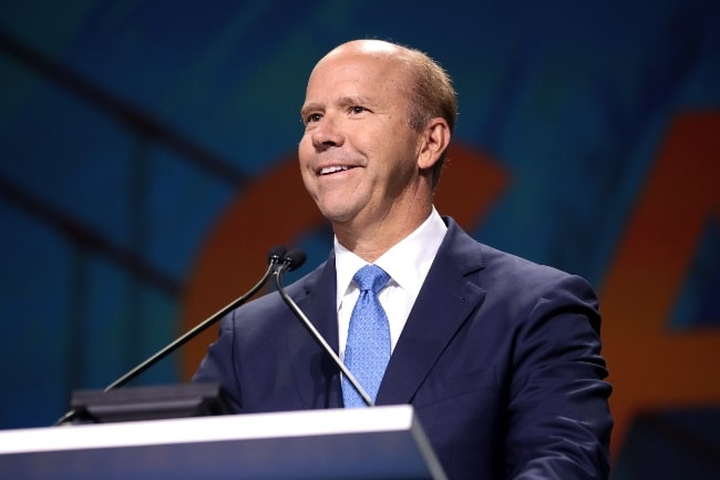 John Delaney as seen while speaking with attendees at the 2019 California Democratic Party State Convention at the George R. Moscone Convention Center in San Francisco, California, United States