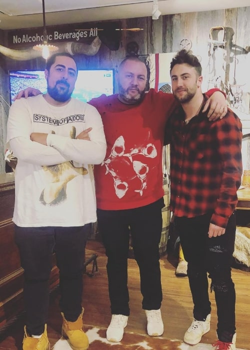 Jordan McGraw as seen while posing for a picture along with Fabian Marasciullo (Center) and Stove aka Nicholas (Left) in Aspen, Pitkin County, Colorado, United States in November 2018