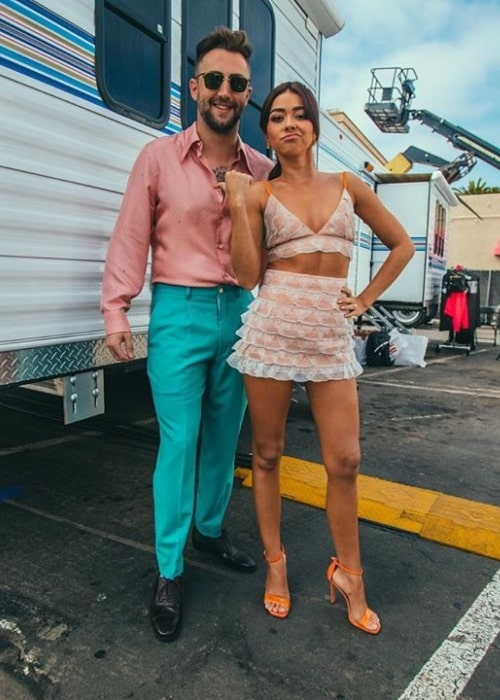 Jordan McGraw as seen while posing for the camera alongside Sarah Hyland in August 2019