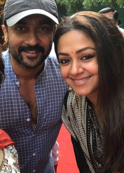 Jyothika as seen in a picture taken with her husband actor Suriya in Chennai, India in November 2019