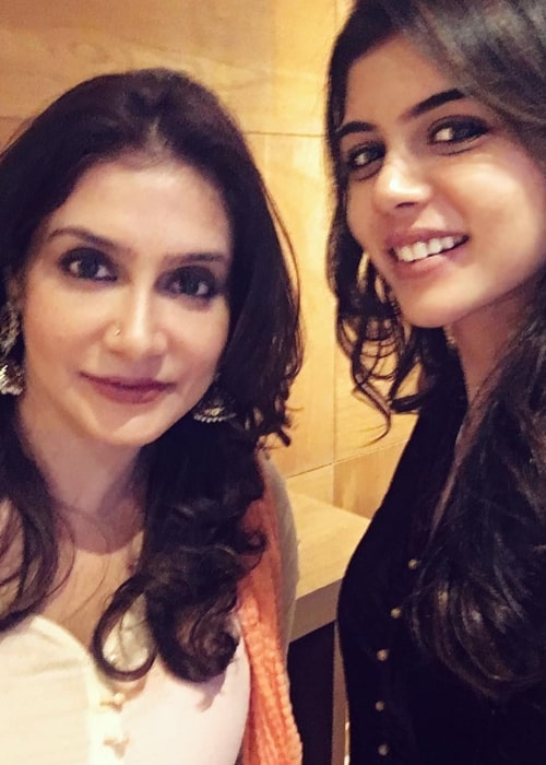 Kalyani Priyadarshan as seen in a selfie with her mother former Indian actress Lissy Lakshmi on the day of her birthday in December 2017