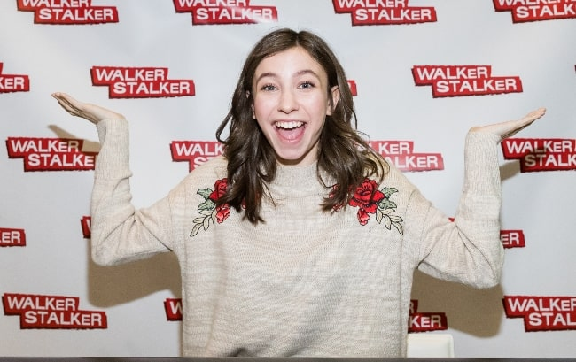 Katelyn Nacon as seen while posing for a picture during Walker Stalker Con at Maimarkthalle, Mannheim, Baden-Württemberg, Germany in March 2018
