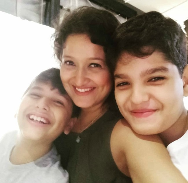 Laila Mehdin with her sons as seen in September 2019