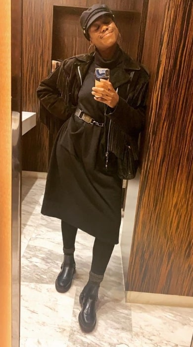 Lashana Lynch as seen while smiling and clicking a mirror selfie in October 2019