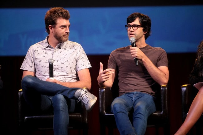 Link Neal (Right) and Rhett McLaughlin speaking at the 2014 VidCon