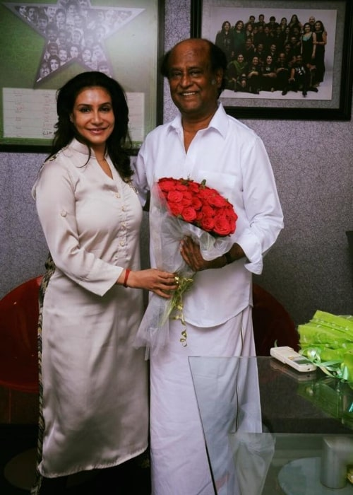Lissy Lakshmi as seen in a picture taken with legendary actor Rajinikanth in January 2016