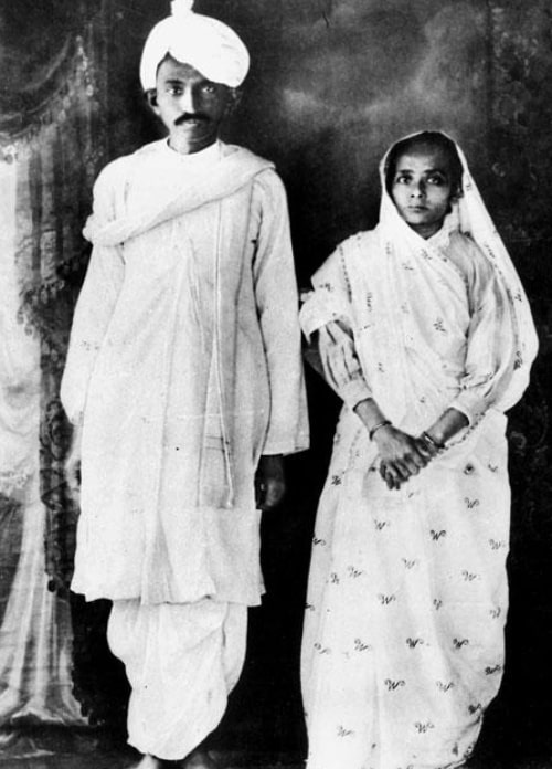 Mahatma Gandhi and Kasturba Gandhi as seen in a picture taken upon their return to India from South Africa in 1915
