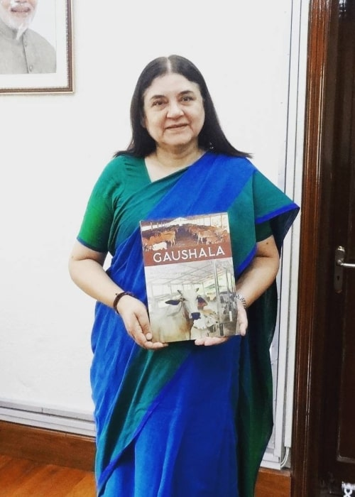 Maneka Gandhi as seen in a picture taken with her book Gaushala in Delhi in February 2018
