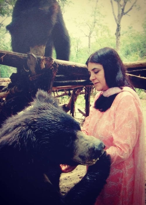 Maneka Gandhi as seen in a picture that was taken at Wildlife SOS in the past