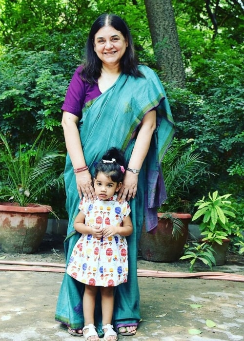 Maneka Gandhi as seen in a picture with her granddaughter Anasuya Gandhi in May 2017