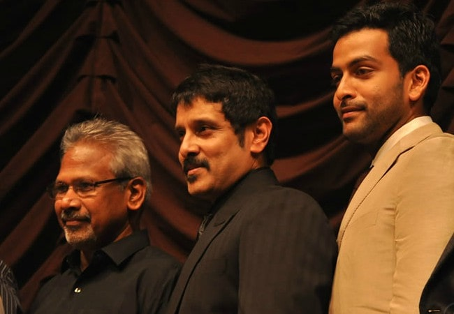 Mani Ratnam (Left), Vikram (Center), and Karthik as seen in May 2010