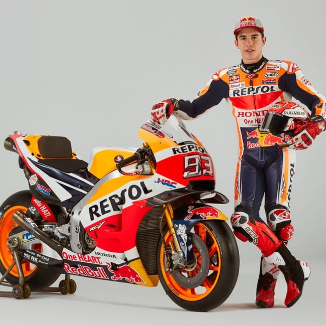 Marc Márquez with his motorbike as seen in January 2019