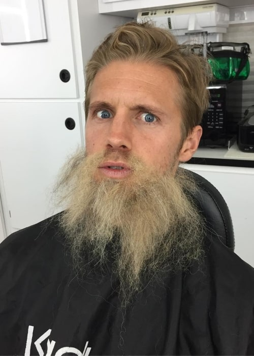 Matt Barr as seen in a picture taken whilst wearing a fake beard in August 2017