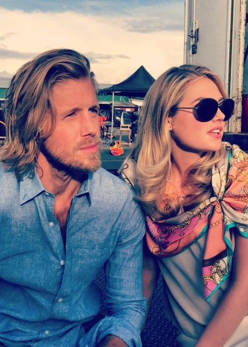 Matt Barr as seen in a picture with actress Kate Upton on the set of The Layover in May 2015