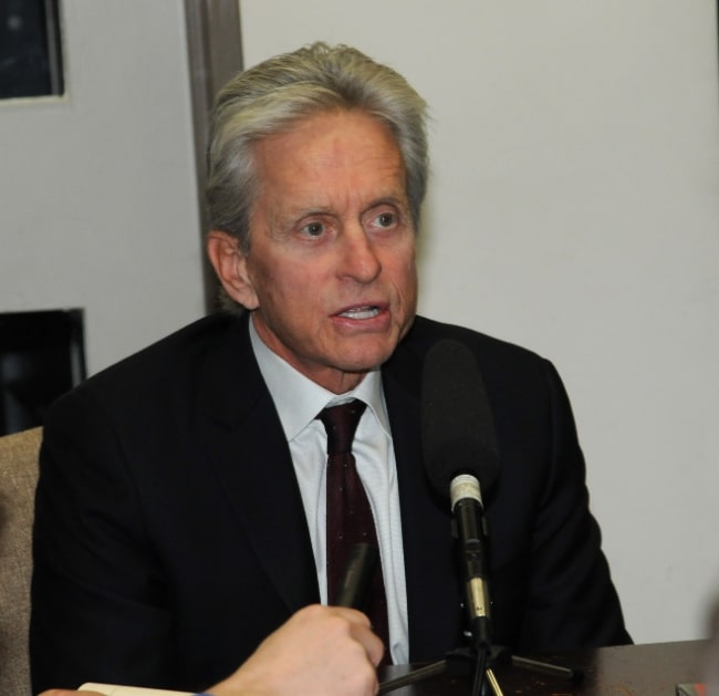 Michael Douglas as seen while speaking with members of the U.S. Department of State's press corps during his visit to the U.S. Department of State in Washington, D.C., in November 2011