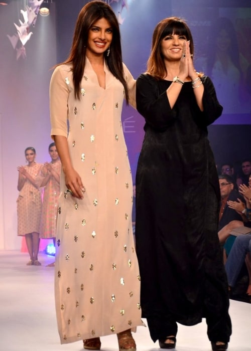 Neeta Lulla as seen in a picture taken while on the ramp with actress Priyanka Chopra who walked for her of at LFW 2014