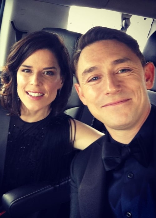 Neve Campbell as seen in a selfie taken with her beau JJ Feild while on the way to the 2017 Emmy Award event in September