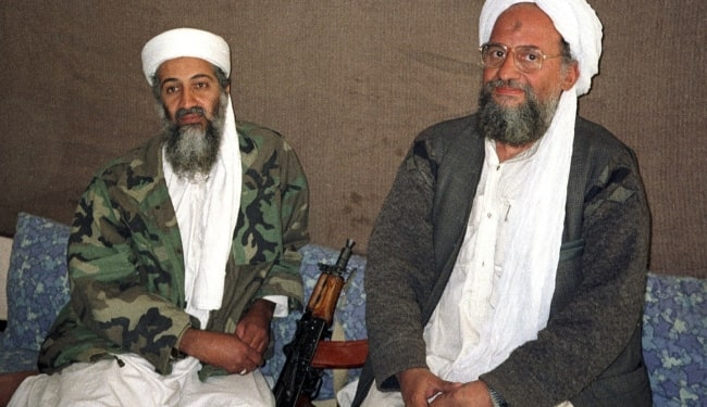 Osama bin Laden (Left) as seen while sitting alongside his adviser Dr. Ayman al-Zawahiri during an interview with Pakistani journalist Hamid Mir in November 2001 in Kabul, Afghanistan