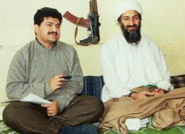 Osama bin Laden (Right) as seen alongside Pakistani journalist Hamid Mir during an interview circa March 1997-May 1998