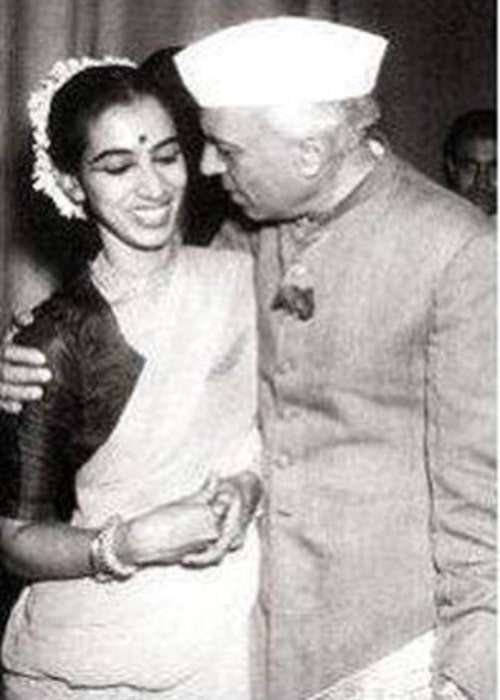 Pandit Jawaharlal Nehru as seen in a picture with Mrinalini Sarabhai after a performance of her's in New Delhi in 1948