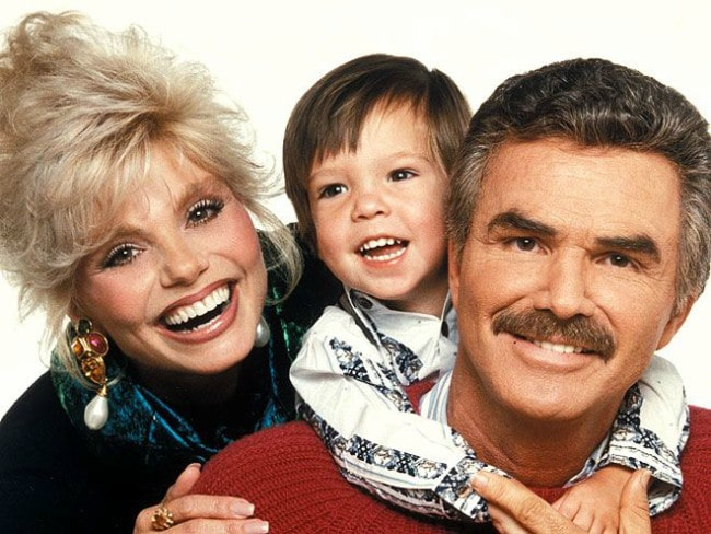 Quinton Anderson Reynolds (Center) childhood image with Burt Reynolds and Loni Anderson