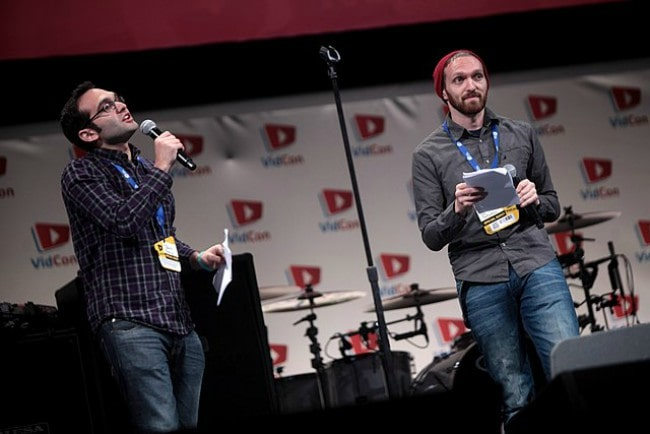 Rafi Fine (Right) and Benny Fine speaking at the 2014 VidCon