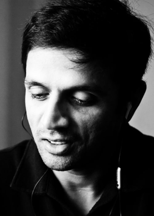 Rahul Dravid as seen in a black and white closeup picture that was taken on September 11, 2010