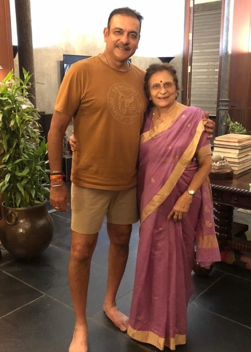 Ravi Shastri as seen in a picture with his mother taken on the day of her 80th birthday in November 2019