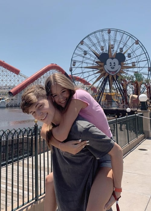Riley Lewis as seen in a picture with her beau Tayson Madkour at Disneyland, California in July 2019
