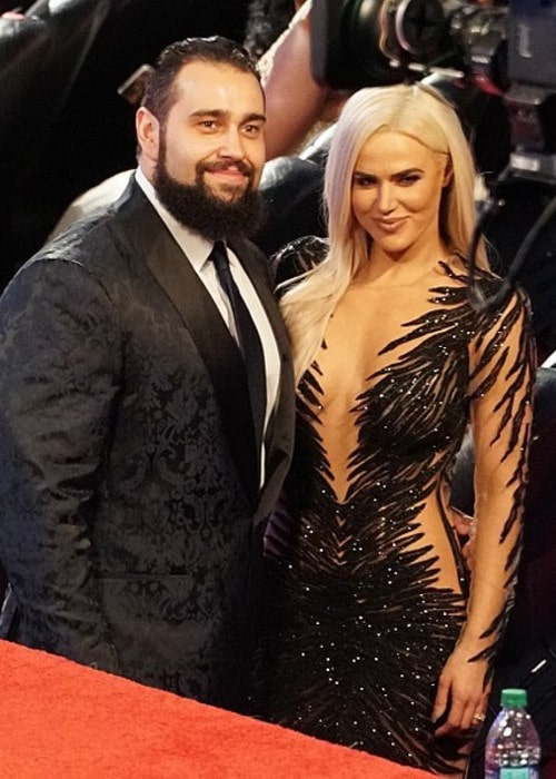 Rusev with his wife Lana as seen in April 2018