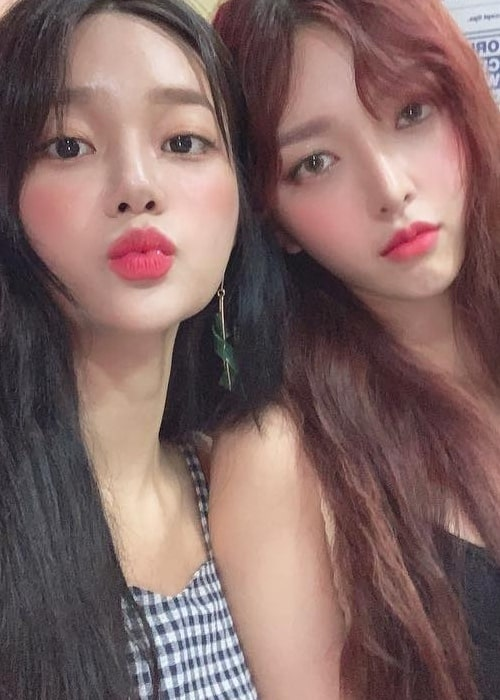 Seo Yu-na as seen in a picture with singer Kim Chanmi taken in Cebu, Philippines in April 2019