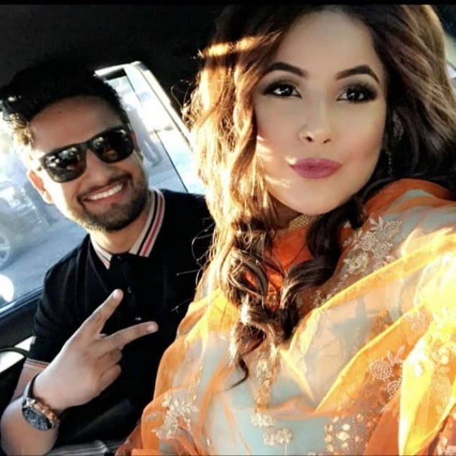 Shehnaz Kaur Gill as seen in a selfie taken with musical artist Sajjan Adeeb in July 2019