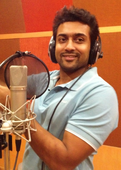 Suriya as seen in a picture taken while he records his voice for the Tamil language version of the TeachAIDS animation at Rajiv Menon Productions in Chennai, Tamil Nadu on July 24, 2013