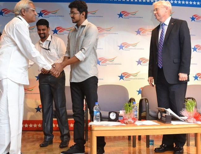 Tamil Film actor Joseph Vijay Celebrating World Environment Day at the U.S. Consulate Chennai 2013-min